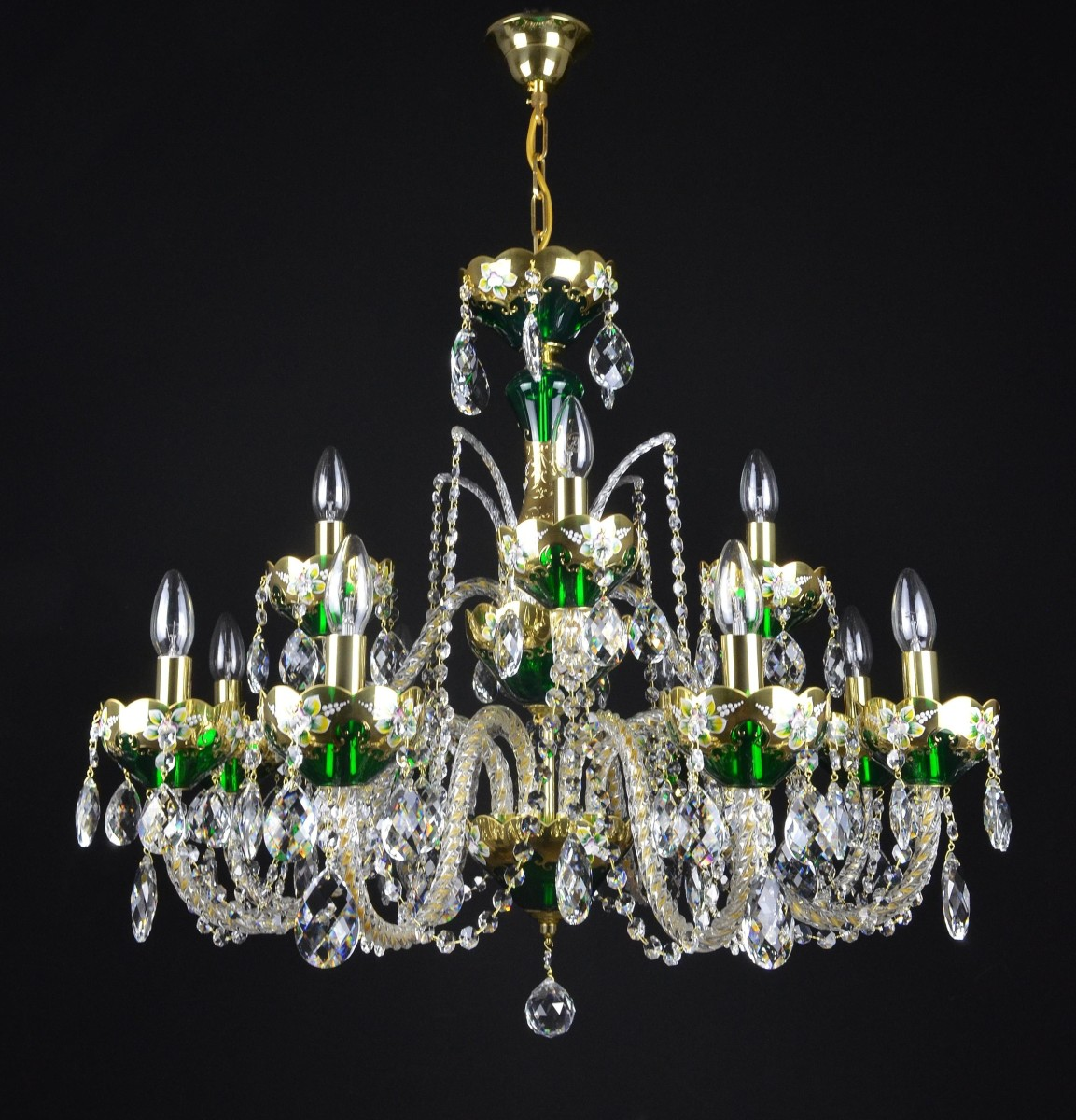 12 Arms Green Enameled Crystal Chandelier With Glass Flowers On The Gold Base