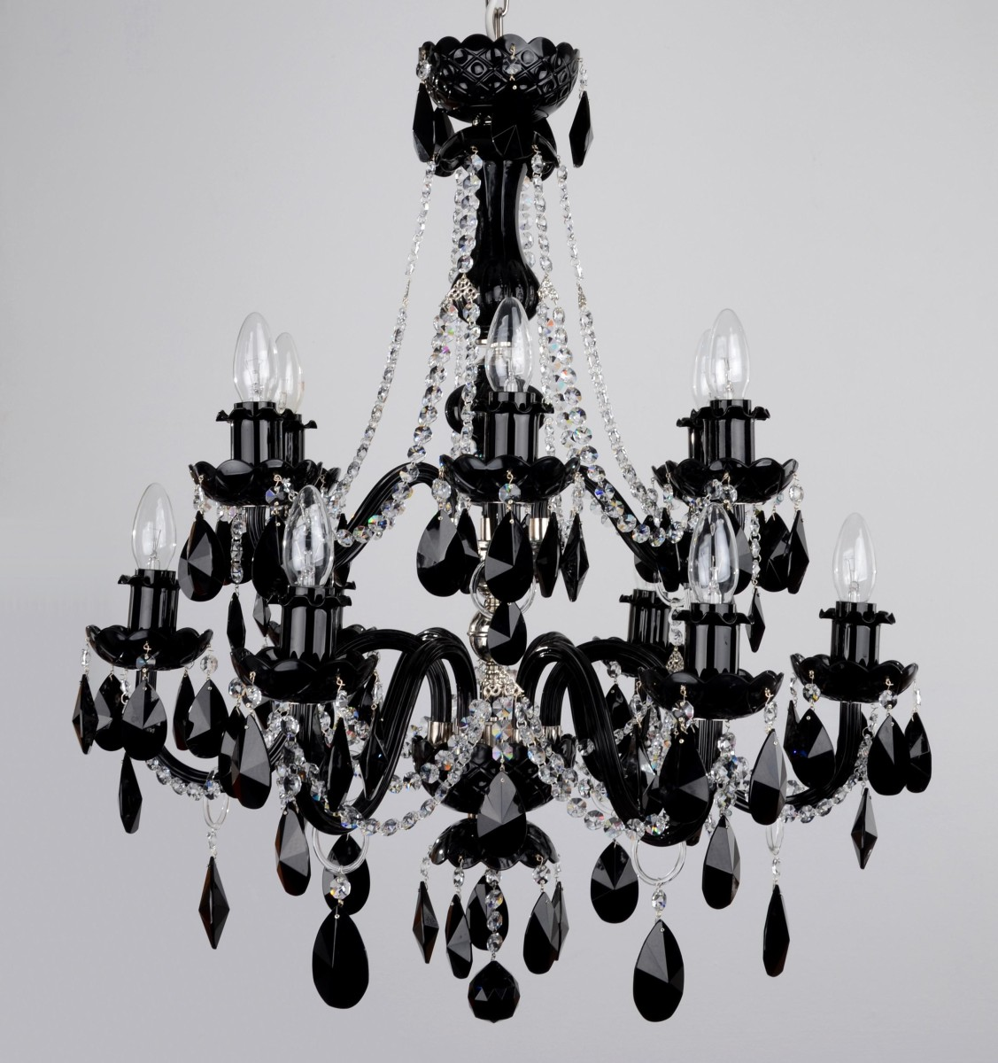 12 Arms Black White Crystal Chandelier Almonds Clear Str Chains