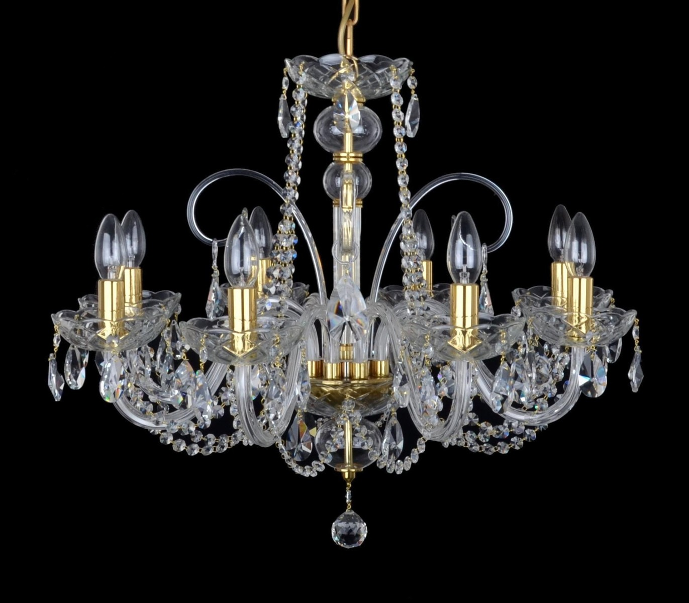 Picture of: 8 Arms Crystal Chandelier With Hand Blown Glass Parts Cut Gleaming Almonds Bohemian Glass