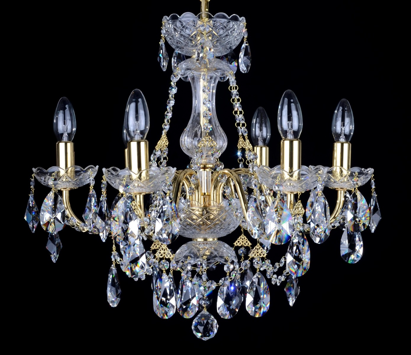 6 Arms Gold Brass Crystal Chandelier With Swarovski Crystal Almonds Bohemian Glass