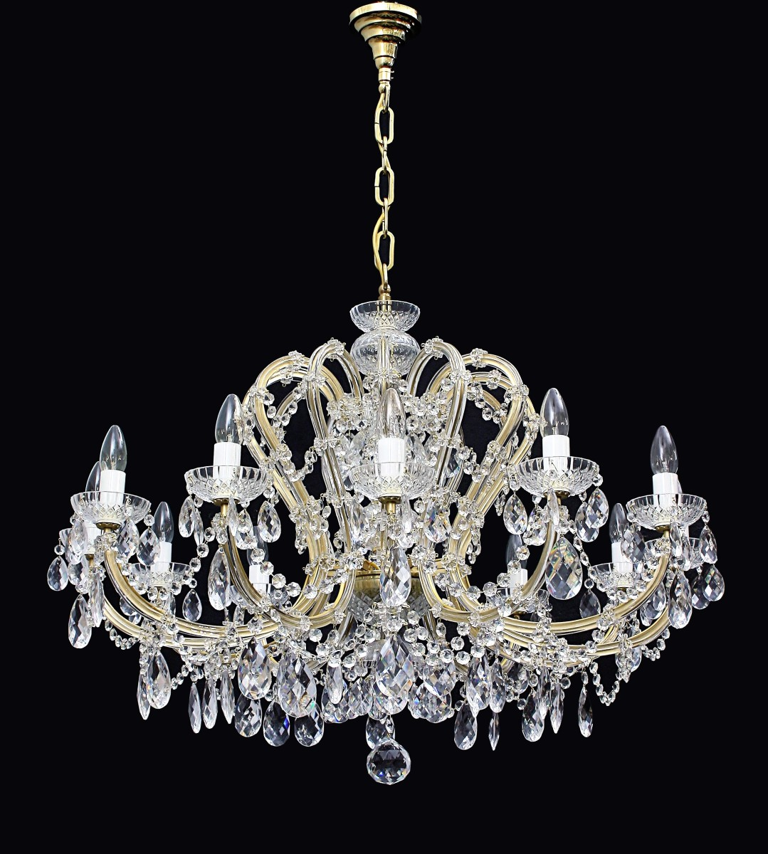 12 Flames Inexpensive Czech Maria Theresa Crystal Chandelier With Crystal Almonds Pressed Glass Bohemian Glass
