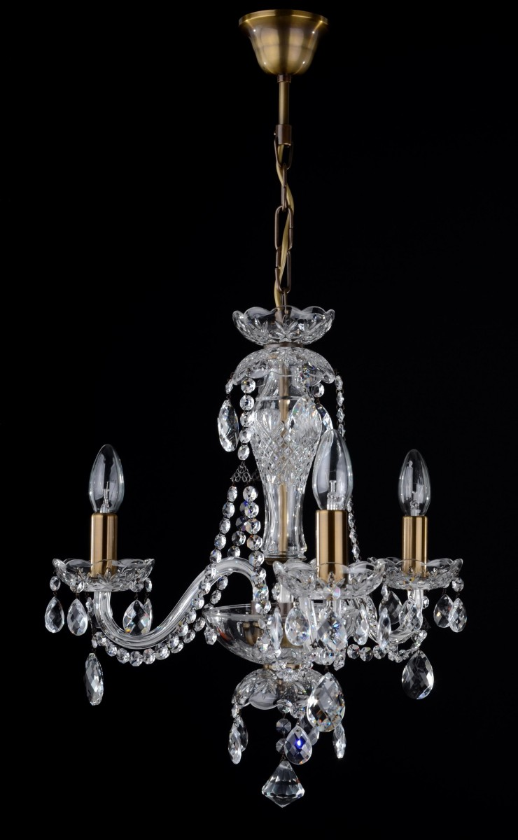 3 Arms Crystal Chandelier With Crystal Almonds Bohemian