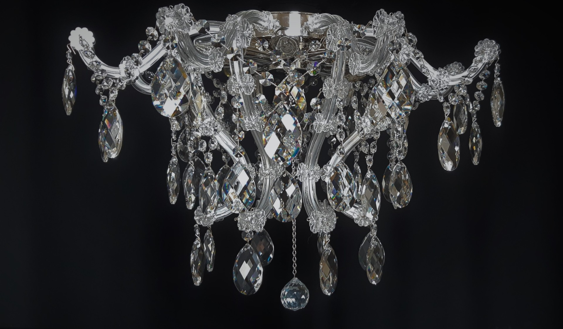 Surface Mounted Theresian Chandelier With Eight Bulbs For Lower Ceilings Bohemian Glass