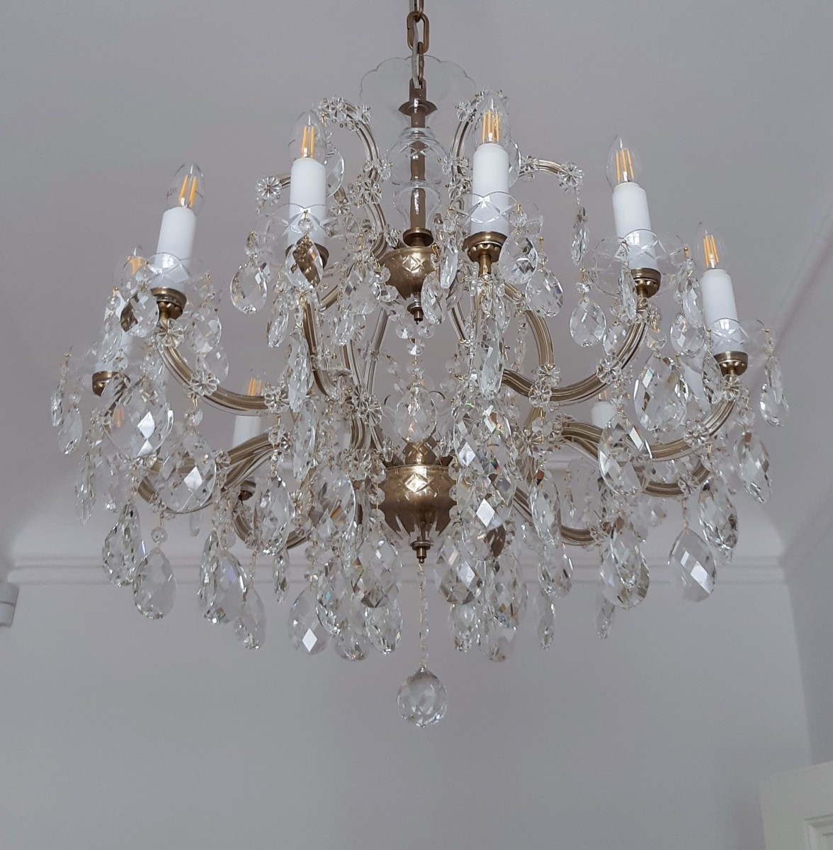 12 Flame Theresian Chandelier With Crystal Almonds Antique Brass Finish Bohemian Glass