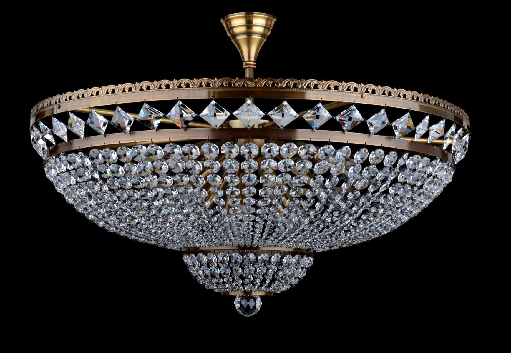 Large Basket Crystal Chandelier With Cut Square Swarovski Stones Brown Brass Bohemian Glass