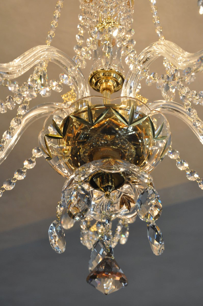 5 Arms gold decorated crystal chandelier with crystal ...