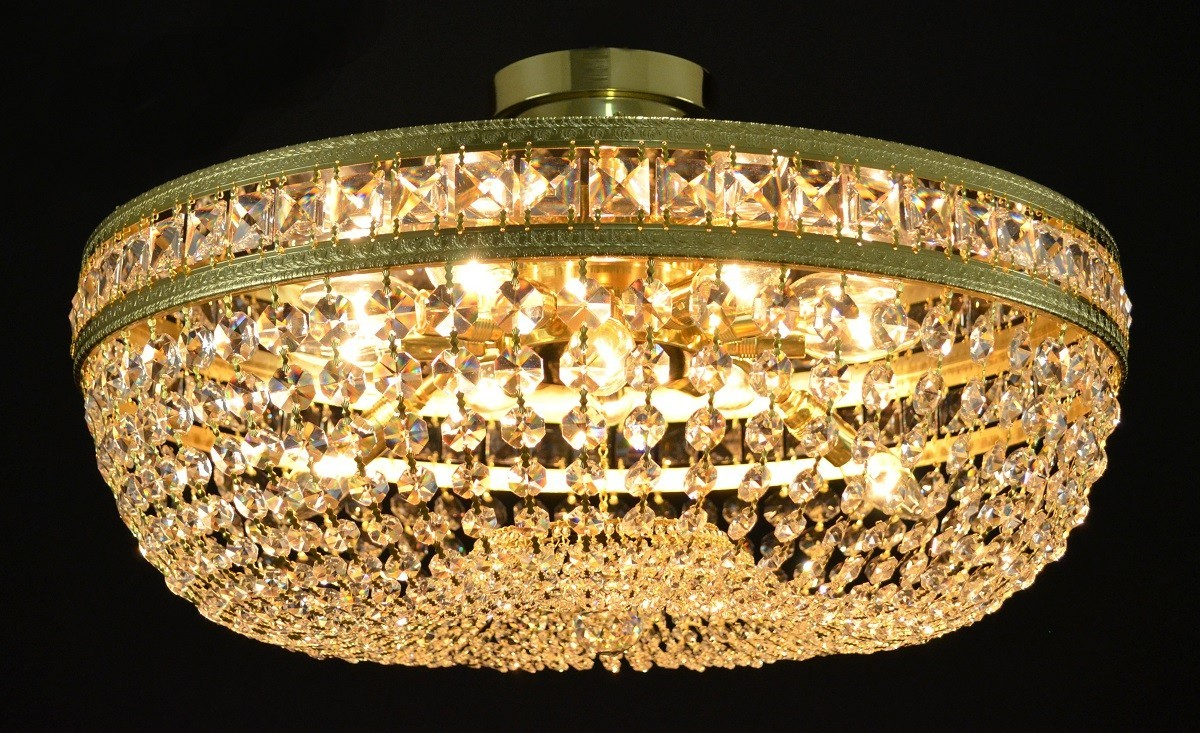 Flush Mount Basket Crystal Chandelier With Square Stones Bohemian Glass