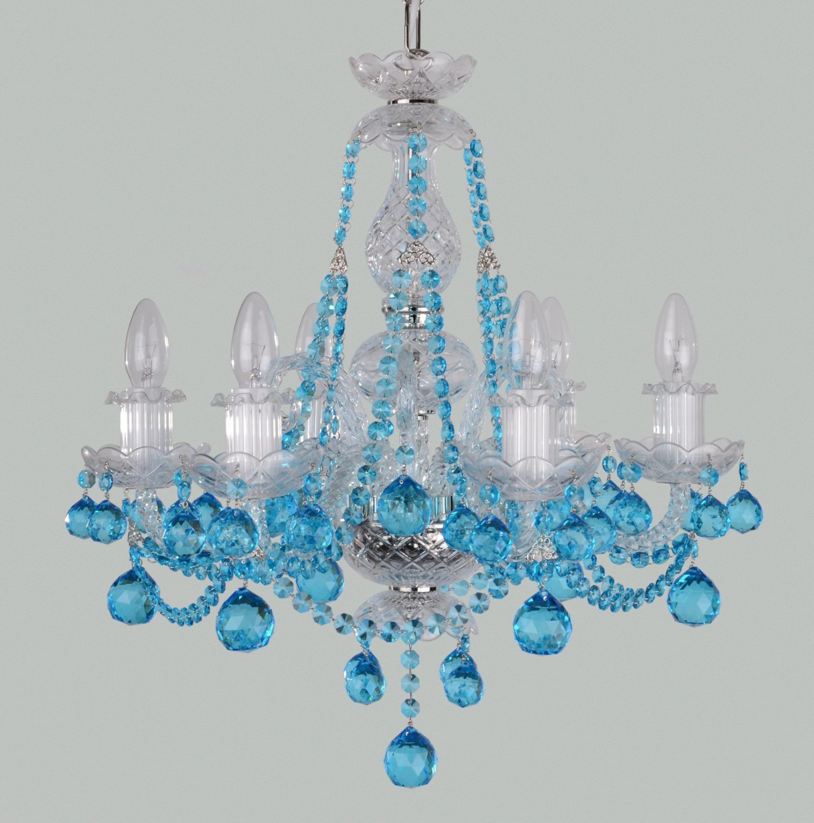 6 Arms Small Blue Crystal Chandelier With Aquamarine Cut