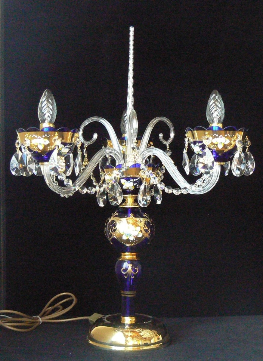 3 Arms Blue Crystal Table Lamp Decorated With High Enamel Bohemian Glass