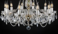 The lower part of the chandelier is made of cut crystal glass