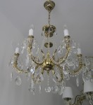 6 Arms Crystal cast brass chandelier - Gold brass & Hand blown bobeches in real Interior