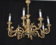 8-arm Victorian chandelier made of solid cast brass