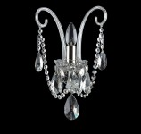 1 Arm silver crystal wall light with cut almonds