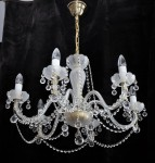 White sand blasted chandelier  with round Slavic shapes