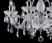 Detail of hand cut and silver metal of the chandelier