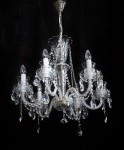 General view of a traditional Czech crystal chandelier made of cut glass
