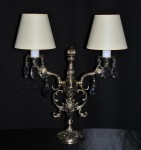 2 Arms Cast brass tablecrystal lamp with lampshades