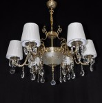 Solid cast brass crystal chandelie with 6 white lampshades