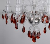 6 Arms crystal chandelier with cut crystal red almonds - dark Topaz