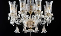 Detail of a luxury chandelier with crystal bells
