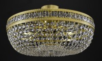 Semi-flush mount basket crystal light with crystal stones