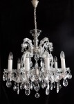 General view of a crystal chandelier hanging