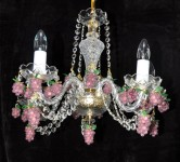 5 Arms Crystal chandelier with violet glass grapes