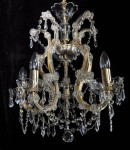 5 flames Gilded Maria Theresa crystal chandelier with cut crystal pears