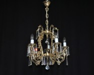General view of a smaller brass chandelier