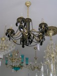 5 Arms Gold & Black cast brass chandelier - Highlighted relief & Black almonds