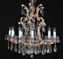 The custom-made 12 flames Maria Theresa chandelier - imitation of red copper