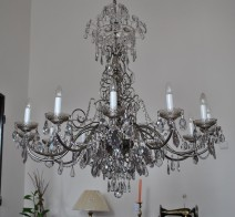 The 12-arm crystal chandelier - Smoky crystal glass & Glittering cut pearls