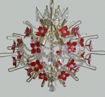 The design chandeliers decorated with hand made glass flowers