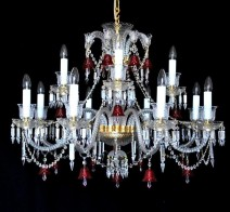 "The crystal chandelier ""RED BELLS"" in the Baccarat style"