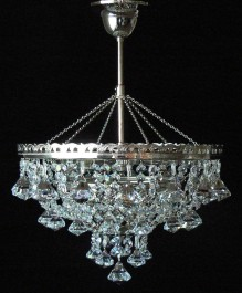 3 Bulbs basket crystal chandelier with diamond shaped pendants