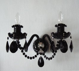 2 Arms Silver wall light with Black almonds