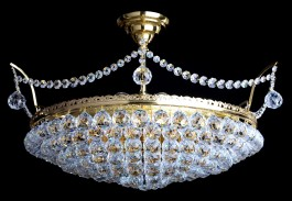6 bulbs basket crystal chandelier with cut crystal balls III. - Gold brass