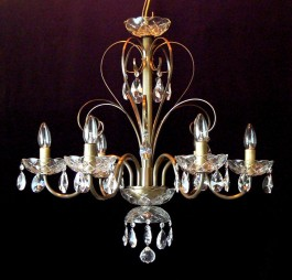 6 Arms plain crystal chandelier with cut crystal almonds ANTIK