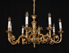 8 Arms Cast brass chandelier - plain brass