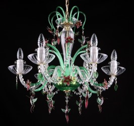Green 6-arm crystal chandelier with birds