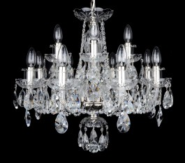 12-bulb Silver crystal chandelier for the living room