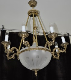 8 Arms Cast brass basket chandelier - cut sadblasted glass