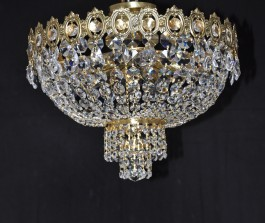 Surface-mounted basket crystal chandelier with strass stones