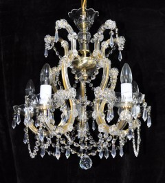 5 Arms Maria Theresa crystal chandelier with cut crystal pears