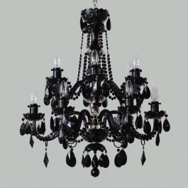 12 Arms black crystal chandelier with Black almonds