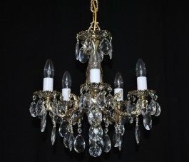 5 Arms cast brass chandelier with milky glass tubes