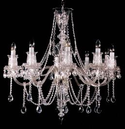 Antique looking 10 Arms Crystal chandelier with hand cut glass tulips