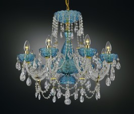 Luxury blue crystal chandelier