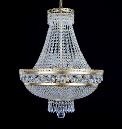 9-bulb crystal basket made of matt brass