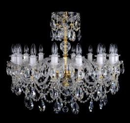 16 Arms luxury Crystal chandelier with twisted glass arms & Cut almonds